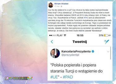 """Shaded: """"Chcę oświadczyć, iż Prezydent Andrzej Duda nie mówi w moim imieniu"""""""