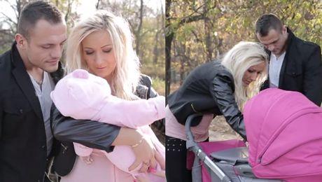 Trybson i Eliza z dzieckiem na spacerze