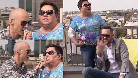 Dorota Wellman śpiewa z Mezo na dachu TVN u