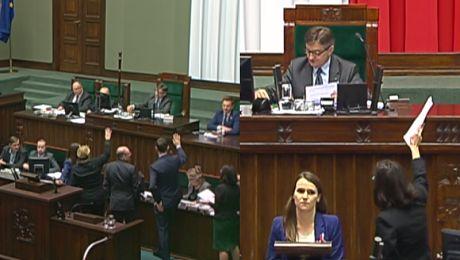 Awantura w Sejmie w trakcie wyboru sędziów Konstytucja Precz z komuną