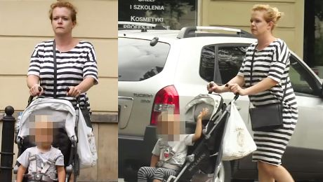 Zmęczona Widawska na spacerze z synem