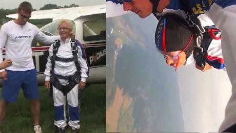 72 latka skoczyła ze spadochronem z okazji 50 rocznicy ślubu