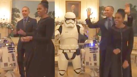 Michelle i Barack Obama tańczą z R2 D2
