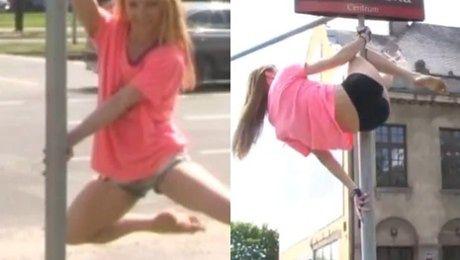 Te kobiety tańczą na znakach drogowych