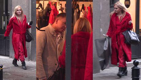 Monika Olejnik cała na czerwono na zakupach u Jemioła