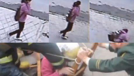 Nastolatka zapadła się w dziurę w chodniku