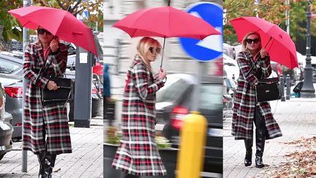 Olejnik chowa się przed wiatrem pod czerwonym parasolem