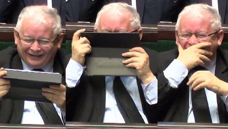 Atak śmiechu Kaczyńskiego w Sejmie