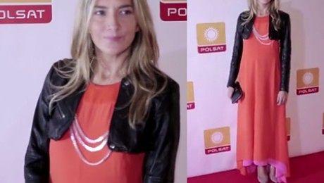 Baar w pomarańczowe sukni na prezentacji ramówki Polsatu