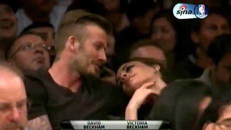 Beckhamowie na meczu Los Angeles Lakers
