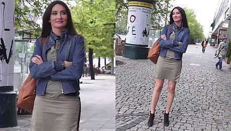 Dominika Kulczyk pozuje pod studiem Dzień Dobry TVN