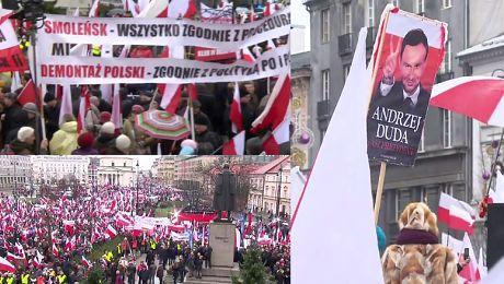 Tysiące zwolenników PiS manifestują w Warszawie
