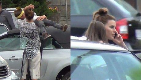 Urbańska z córką na dachu samochodu