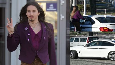 Szpak odjeżdża spod TVP białym BMW za 220 tysięcy złotych