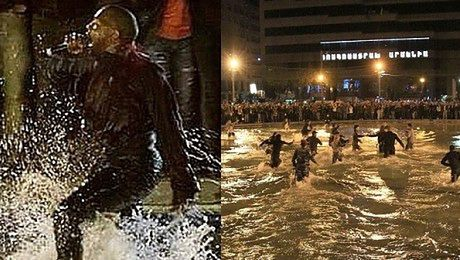 Kanye West skacze do jeziora podczas koncertu w Armenii