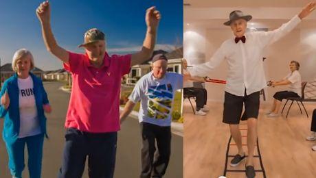 80 latkowie tańczą do Happy