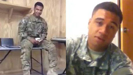Żołnierz śpiewa Stay Rihanny