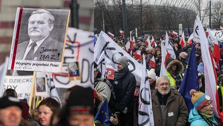 80 tysięcy ludzi manifestowało w Warszawie Kaczyński atakuje ikonę Stańmy murem za Wałęsą