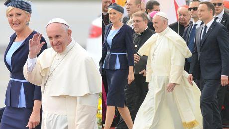 Tak Andrzej i Agata Duda witali papieża