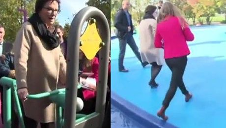 Ewa Kopacz ćwiczy i skacze przez fontannę