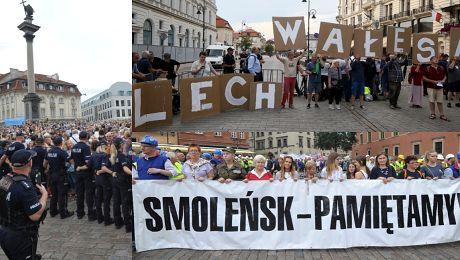 Tak wyglądała 87 miesięcznica smoleńska 2 tysiące wyznawców kontra 2 5 tysiąca kontrmanifestantów