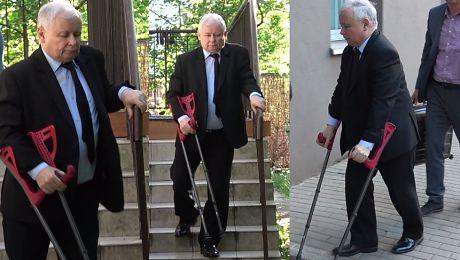 Kaczyński o kulach Znów trafił do szpitala WIDEO