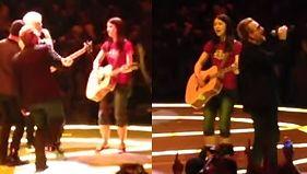 Bono zachwycony młodą fanką Zagrał z nią na scenie