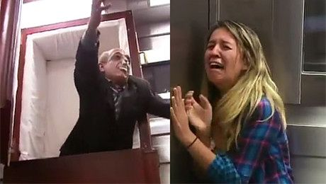 Kolejny kawał w windzie Z TRUPEM Przesadzili