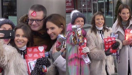 Dereszowska Herbuś i Zielińska z puszkami WOŚP pod TVN em