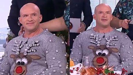 Oświeciński w świątecznym sweterku w Dzień Dobry TVN