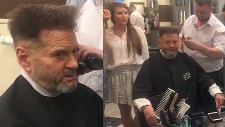 Krzysztof Rutkowski w salonie fryzjerskim
