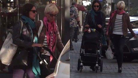 Anna Czartoryska z teściową i wózkiem na rodzinnym spacerze