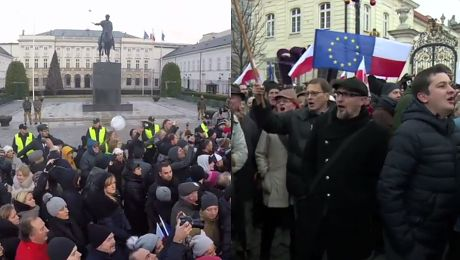 Manifestanci pod Pałacem Prezydenckim Andrzej Duda oddaj dyplom Marionetka Kaczyńskiego
