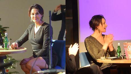 Anna Popek śpiewa tańczy i popija szampana na premierze swojej książki