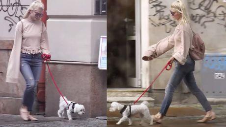 Modna Margaret z psem na spacerze WIDEO