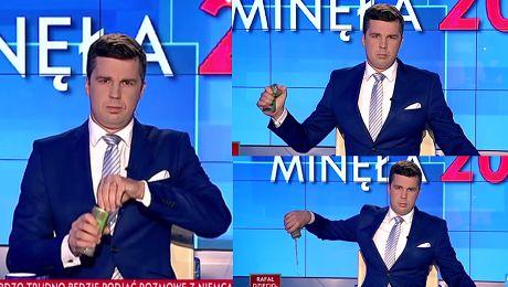 Michał Rachoń vs Tiger Dziennikarz TVP wylał puszkę napoju na antenie WIDEO