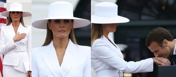 Melania Trump cała na biało spędza popołudnie z Brigitte Macron (ZDJĘCIA)