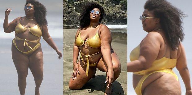Wyzwolona Lizzo dumnie prezentuje krągłości w złotym bikini na nowozelandzkiej plaży (FOTO)