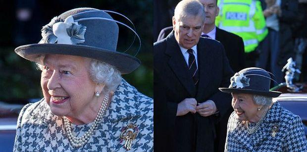 Królowa Elżbieta tryska humorem w drodze na niedzielną mszę w Sandringham