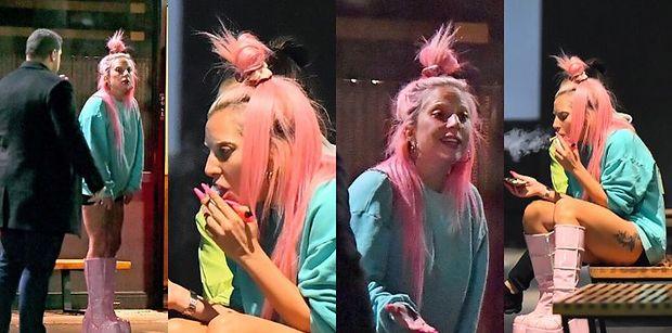 Kolorowa Lady Gaga delektuje się papierosowym dymem na spotkaniu z przyjaciółkami (ZDJĘCIA)