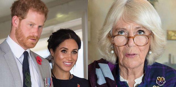"""Księżna Camilla ZASTANAWIA SIĘ przy odpowiedzi na pytanie, czy będzie tęsknić za Meghan i Harrym po """"Megxicie"""""""