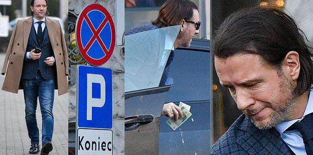Elegancki Radosław Majdan załatwia biznesy na mieście i parkuje na zakazie (ZDJĘCIA)