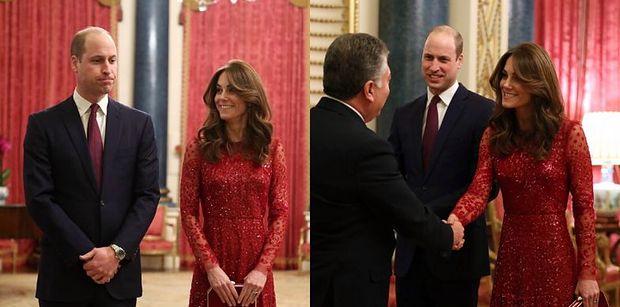 Uśmiechnięci książę William i księżna Kate zabawiają gości w Pałacu Buckingham (FOTO)