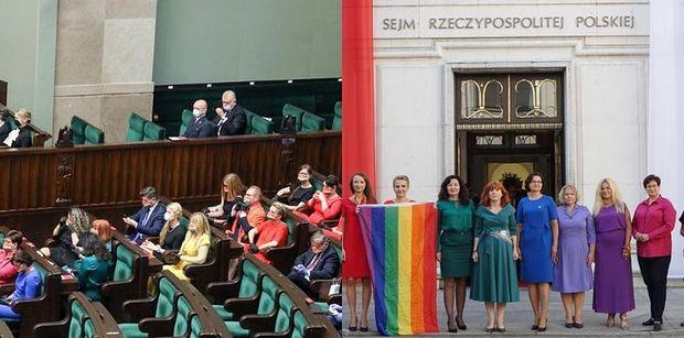 """Posłowie Lewicy wspierają społeczność LGBT podczas zaprzysiężenia Andrzeja Dudy. """"Polska jest dla wszystkich""""  (ZDJĘCIA)"""