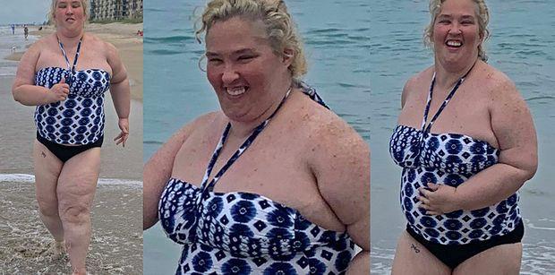Przyodziana w strój kąpielowy mama June walczy o wymarzoną sylwetkę, UPRAWIAJĄC JOGGING na florydzkiej plaży (ZDJĘCIA)