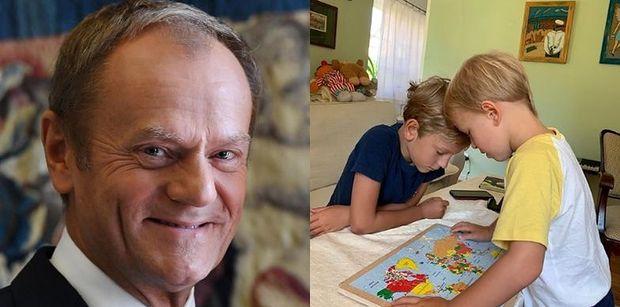 """Troskliwy dziadek Donald Tusk oswaja wnuków z mapą świata: """"Geopolityka jest naprawdę skomplikowana"""" (FOTO)"""