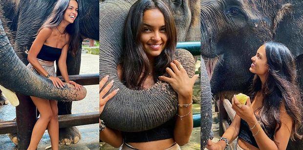 """Rozochocona Klaudia El Dursi zabawia się ze słoniami na Bali. Fani OBURZENI: """"Kryje się za tym ból, strach i nieszczęście zwierząt!"""""""