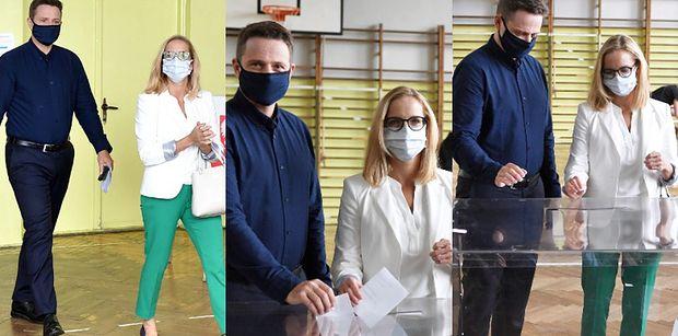 Rafał i Małgorzata Trzaskowscy oddają głos w wyborach prezydenckich (ZDJĘCIA)