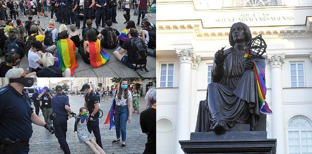 Protesty po zatrzymaniu działaczki LGBT. Aktywiści zablokowali centrum Warszawy, a policja użyła siły (ZDJĘCIA)