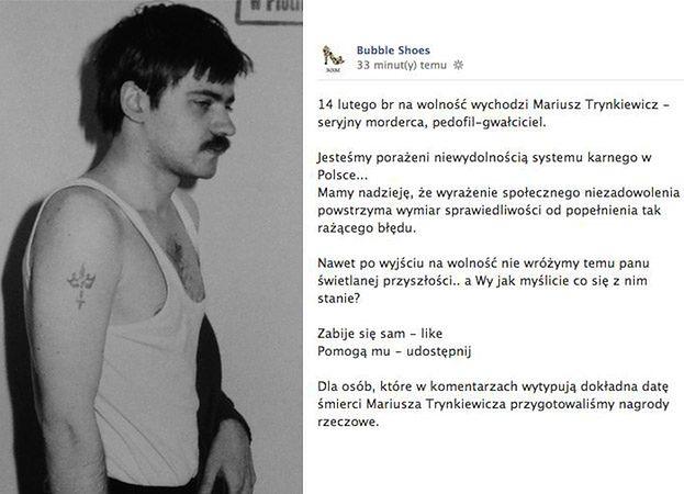 """Firma obuwnicza o Trynkiewiczu: """"ZABIJE SIĘ - LIKE, POMOGĄ MU - UDOSTĘPNIJ!"""""""